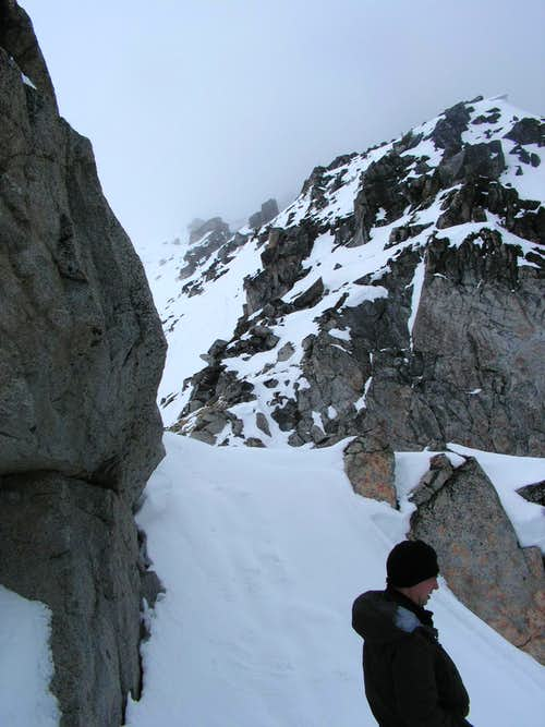 Looking at traverse to summit