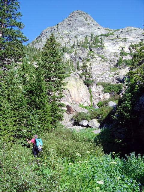 Nelson hikes toward Donner...