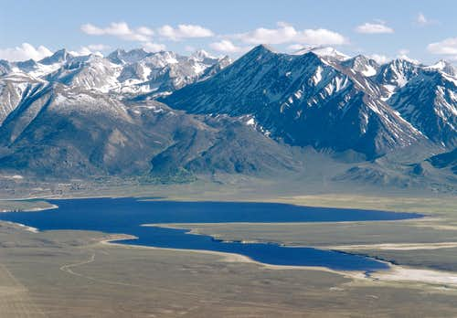 Crowley Lake and Sierra Nevada from Glass Mountain