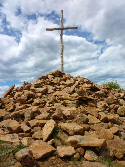 Huge summit cairn and cross