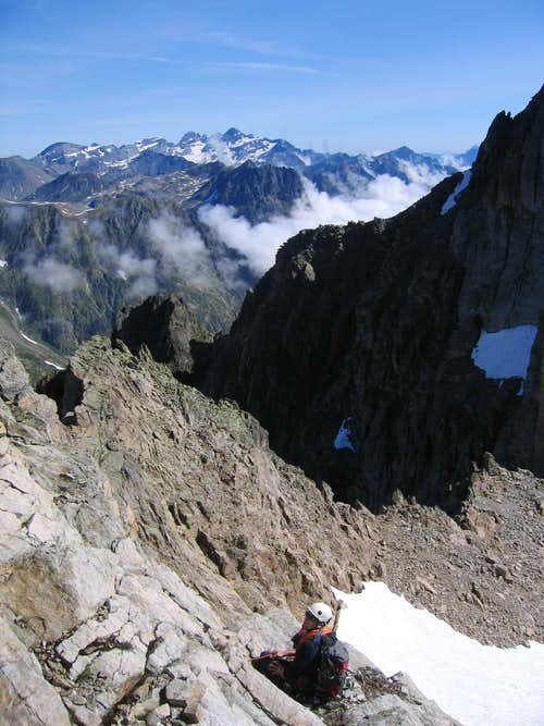 Ascending the North Ridge of Aiguille du Belvedere