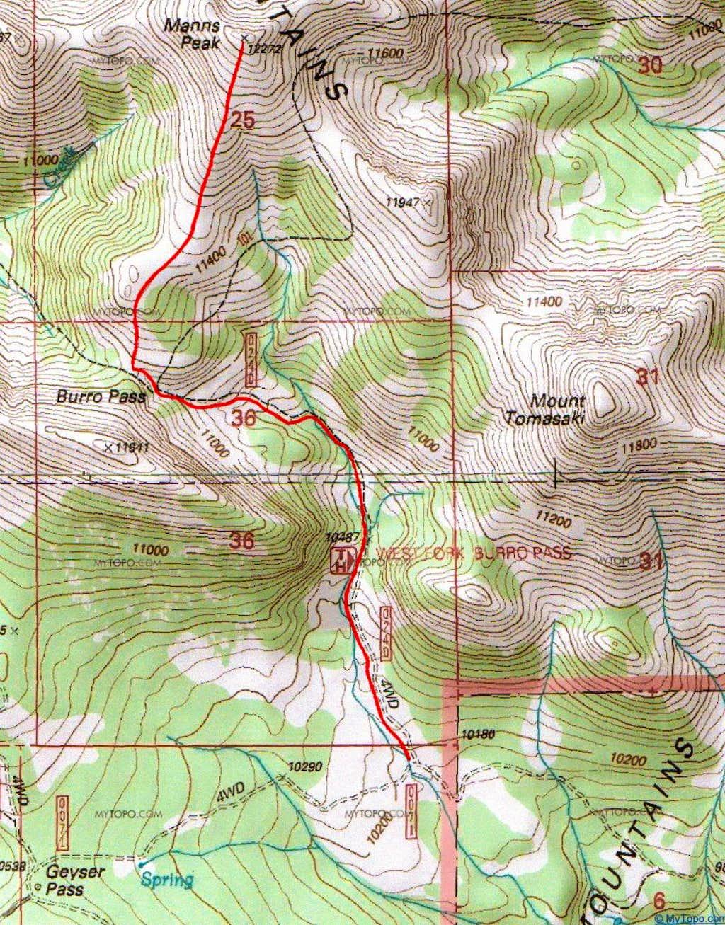 Manns Peak via Burro Pass East