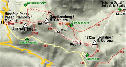 The sketch of Garnitzenberg / Monte Carnizza and its ridge