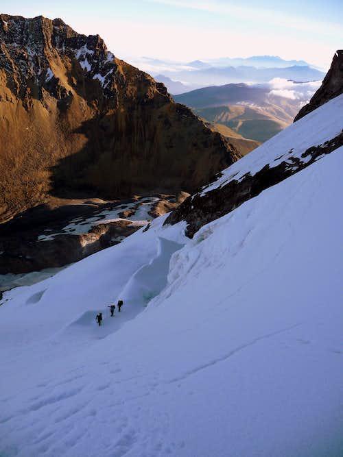 Crossing the bergschrund.