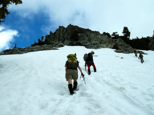 Approaching summit block of Bryant