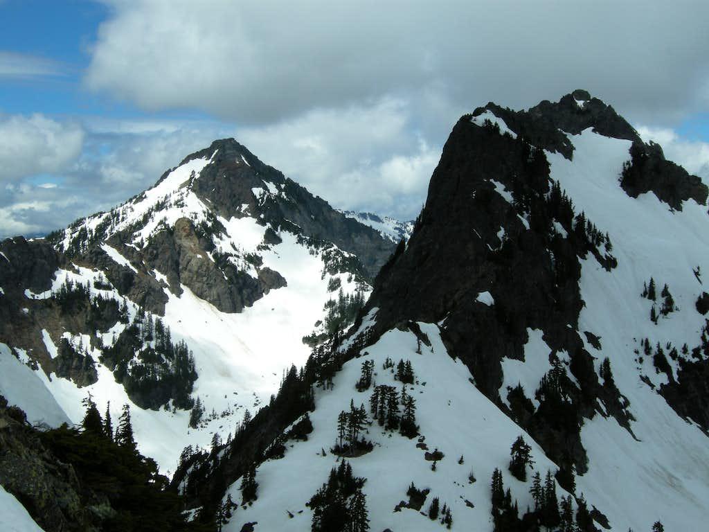 Kaleetan (left) and Chair Peak (right) from Summit