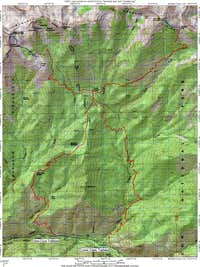 Route Map for Kennedy Mountain and Mount Harrington