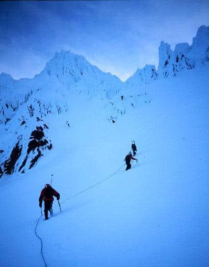 Climbers on the Reid Glacier