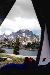 Tent view-- Island Lake, Freemont Peak, Winds, 7-95
