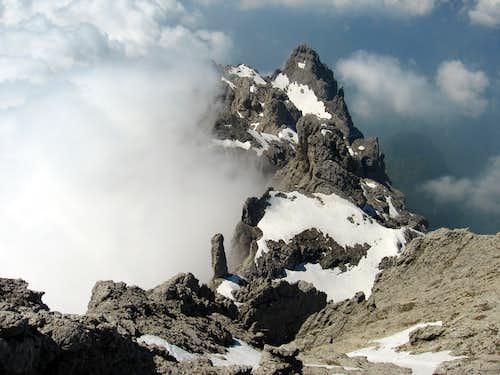 Gusela del Vescovà and Pale del Balcon seen from the summit.