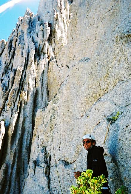 The crux pitch (5.7) of the...