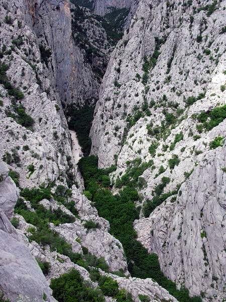View down on Velika Paklenica