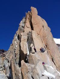 Final pitch of the Arete des...