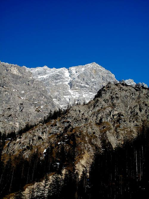 The south summit of the Watzmann seen from the Wimbach valley