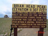 Brian Head Peak summit sign