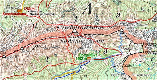 Kosutnikov Turn / Koschutnikturm map