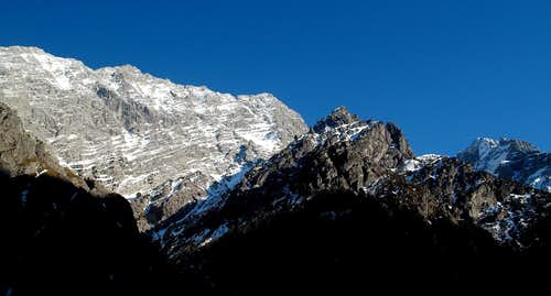 The Watzmann west wall and two minor summits of the Wimbach valley