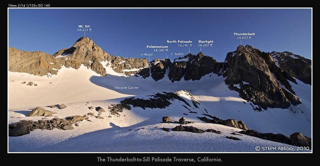 The peaks of the Palisade Traverse, labeled