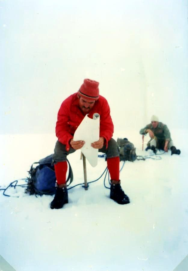 Mont Velan (3734 m) on the OUTWARD JOURNEY in the STORM RETURN in the FOG 1975