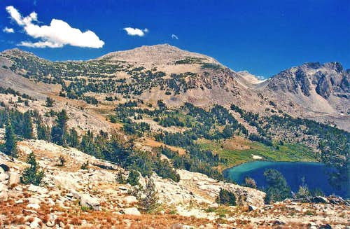 """Duck Lake Peak"" and Lake from Duck Pass"