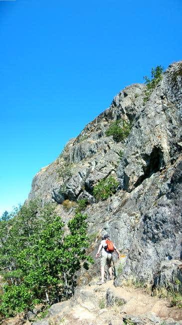 Descending the rocky Mount...