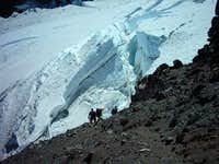 Approaching a large crevasse...