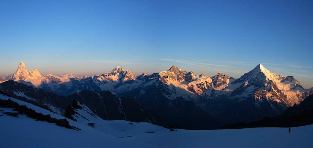From Matterhorn to Weisshorn seen from Mellich glacier.