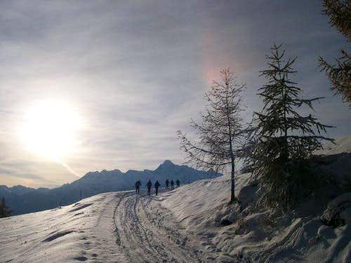 Ski mountanering to the...