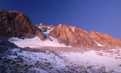 N Couloir in Alpenglow