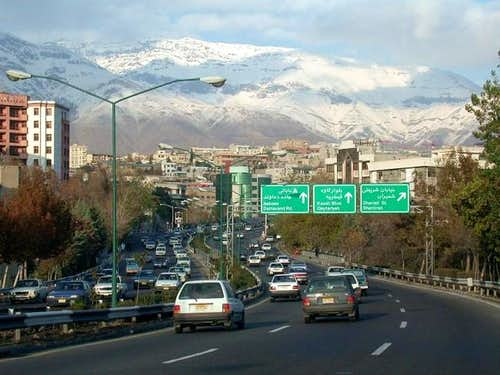 Tehran and the slopes of Mt....