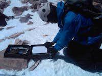 Signing the summit log