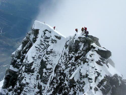 Climbers on Kleinglockner ridge
