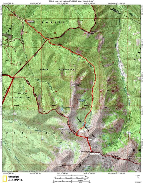 North Truchas Peak from Trampas Lakes: Route Map