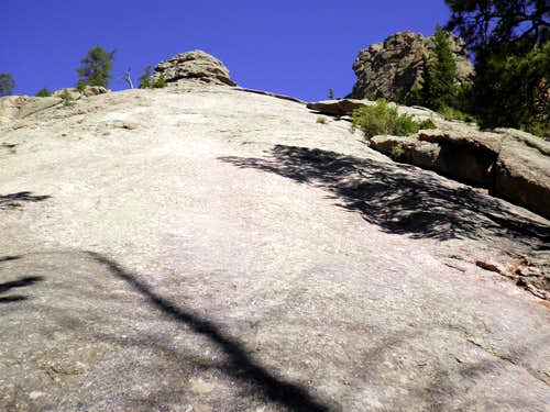 Looking up the slabs to the summit