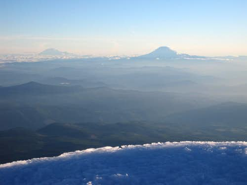 Rainier and Adams from Hood\'s summit