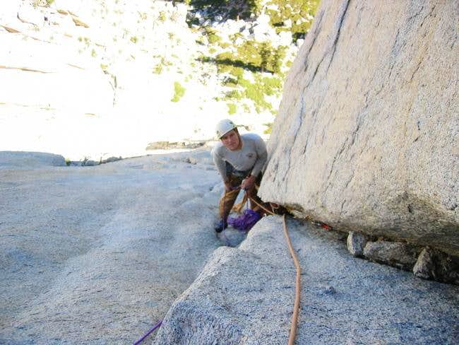 Stephen at the 5th belay,...