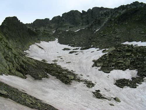 snow patches in Fagaras Mountains  are not a rare thing in summer period