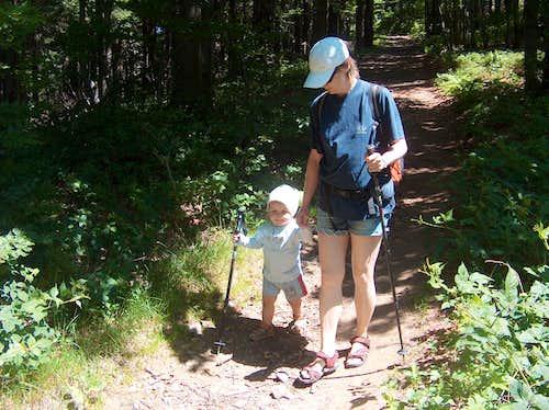Nicolas hiking down Kněhyně