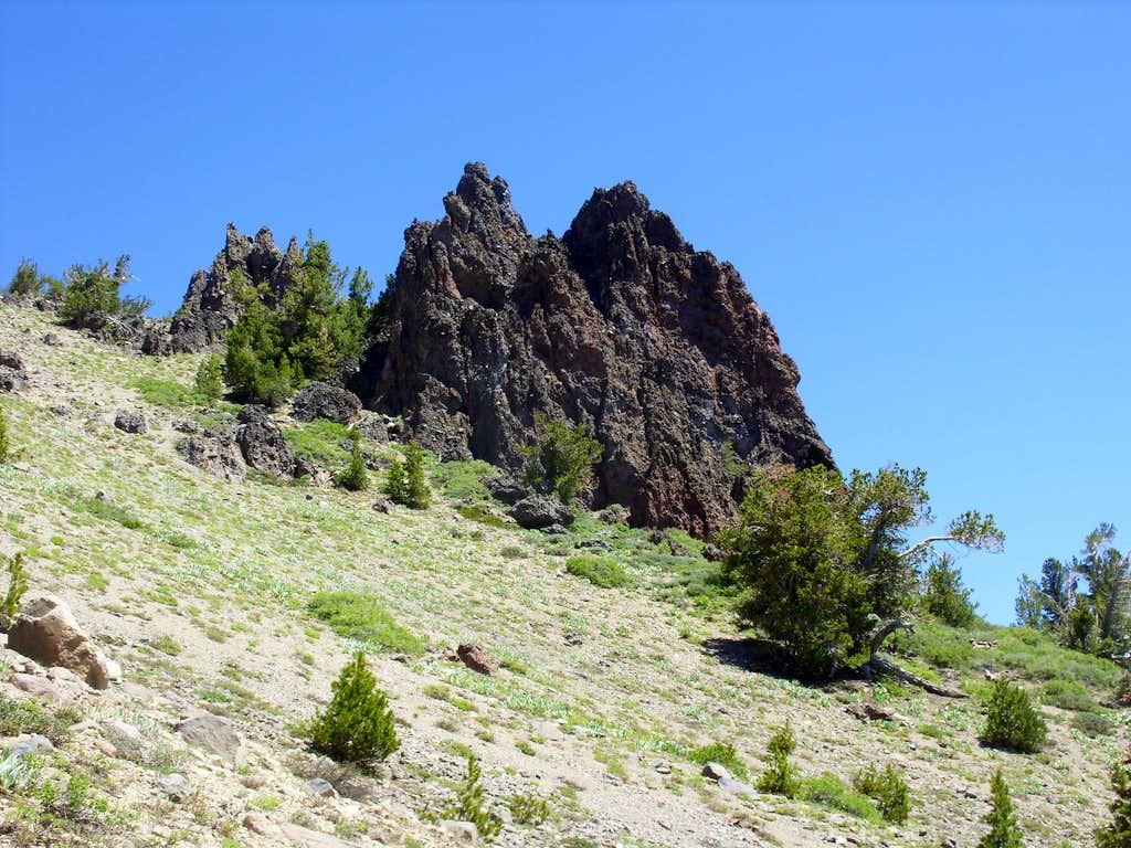 Another view of the rock spires below Peak 9773