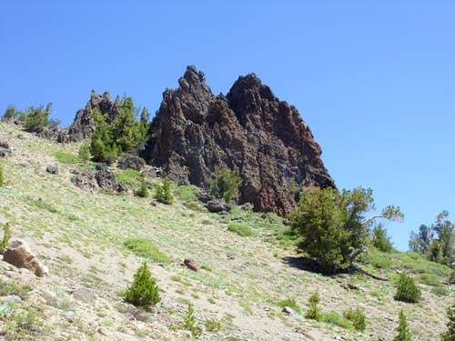 Another view of the rock spires below Peak 9773