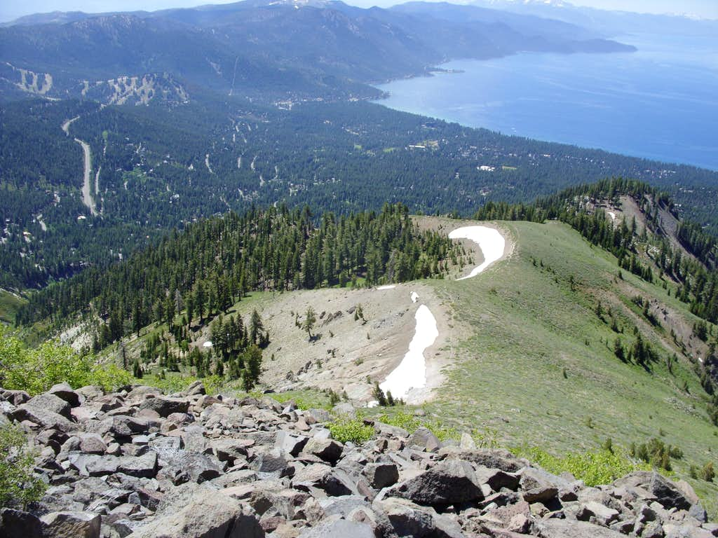 The trail down to Incline Village