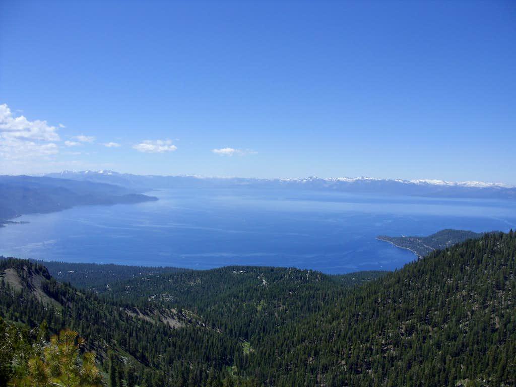 Full view of Lake Tahoe from below Rose Knob Peak
