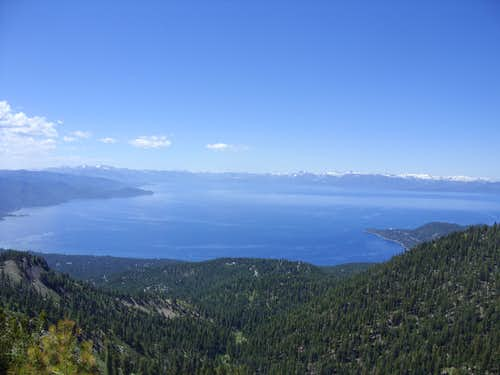 Full view of Lake Tahoe from below Rose Knob Peak