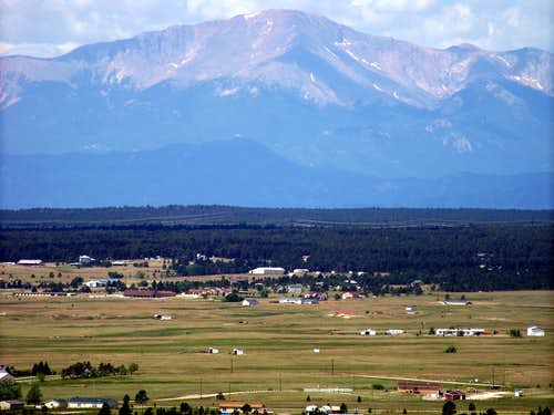 Pikes Peak rises above plains