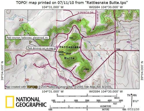 Rattlesnake Butte, Route Map
