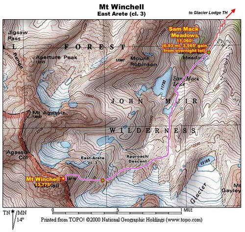 Mt Winchell: East Arete Map