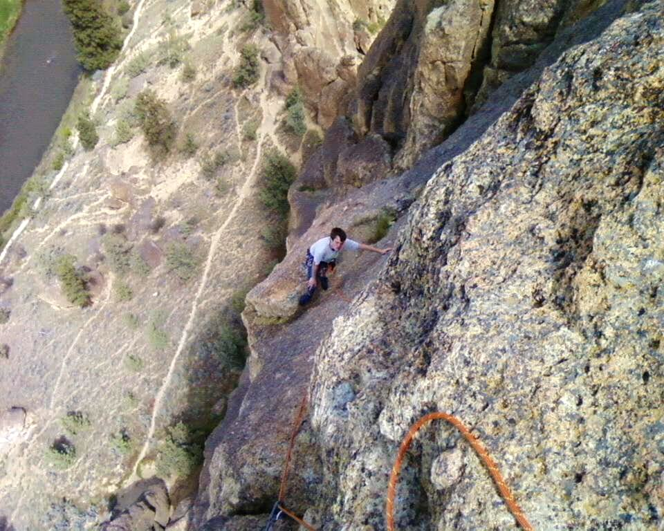 kevin coming up to the anchors of pitch 4
