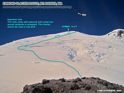 Route Overlay for Emmons Glacier