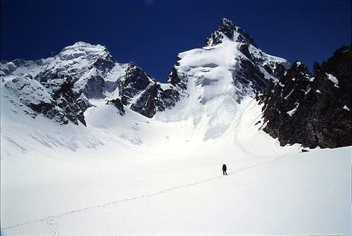A climber on the snow field...