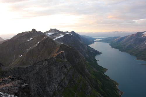 Ersfjord from the summit of Skamtind